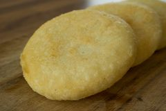 Food photography of deep fried arepas
