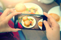 Food photography of hamburgers with vegetables. Top view smartphone photo for social networks Stock Photos
