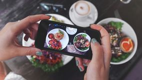 Food photo of healthy food. for social networks. Food photography of healthy vegan food. Home made food photo for social networks. Top view mobile phone photo of royalty free stock photography