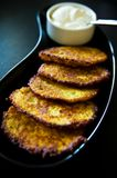 Potato pancakes with cream homemade Stock Image