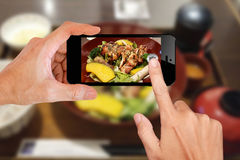 Food photography by smartphone Stock Images