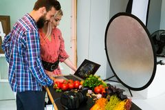 Food photography teamwork studio photographer Royalty Free Stock Photography