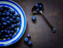 Food photos with blueberries. On a plate with blue stripes and spoon vintage stock photography