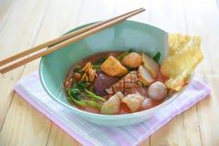 Pink noodle soup, Yen Ta Fo. The food Pink noodle soup, Yen Ta Fo stock photos