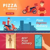 Food pizza delivery. Postal courier deliver man ride on bike vector character in cartoon style. Illustration of pizza food deliver on scooter vector illustration