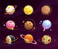 Food planet galaxy concept. Fantasy planets set on cosmic background. Vector space illustration. Tasty astronomy art Royalty Free Stock Images