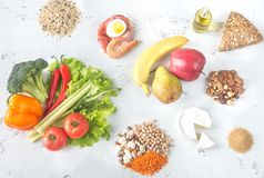 Food for planetary health diet. On the wooden background royalty free stock image