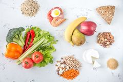 Food for planetary health diet. On the wooden background stock photo