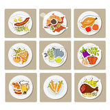 Food on a plate. Food in flat illustration style. Top view Royalty Free Stock Photography