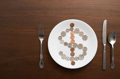 Food Plate Money Concept. A plate of money food concept with nobody stock image