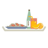 Food In Plate With Orange Juice And Water Bottle Stock Photography