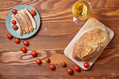 Food plate of traditional german fried sausages with beer and to Royalty Free Stock Photos