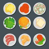 Food in plates set Stock Photo