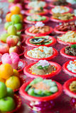 Food plates prepared for the believers Stock Images