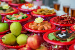 Food plates prepared for the believers Stock Photo