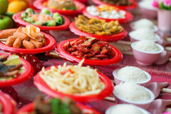 Food plates prepared for the believers Stock Image