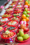 Food plates prepared for the believers Stock Photos