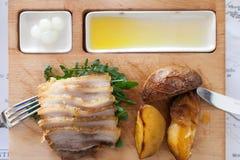 Food Platter. Pork Potatoes Oil Stock Images