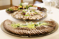 Food platters. Decorative food platters for a catered reception or buffet dinner Stock Photography