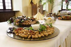 Food platters at reception. Decorative food platters for a catered reception or buffet dinner Stock Images