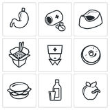 Food poisoning icons set. Vector Illustration. Stock Image