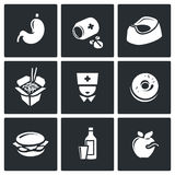 Food poisoning icons set. Vector Illustration. Royalty Free Stock Images
