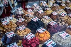 Food in Porto. Dried nuts and fruits in traditional shop in Porto, Portugal royalty free stock photos