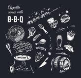 Chalk drawn food poster design. Vector background stock illustration