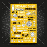 Food poster drawing organic market farm fresh. Sketch Hand drawn vector Royalty Free Stock Images