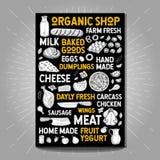 Food poster drawing organic market farm fresh. Sketch Hand drawn vector Royalty Free Stock Photos