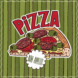 Food poster with Pizza Royalty Free Stock Photo