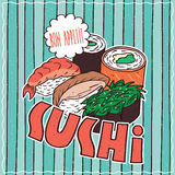 Food poster with Sushi Royalty Free Stock Photo
