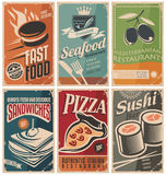 Food posters. Vintage collection of food and restaurants posters vector illustration