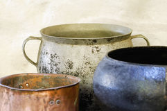 Food pot. Old kitchen pots, ancient iron Royalty Free Stock Images