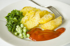 Food, potato, horizontal, eating, vegetables, vegetable, garnish Royalty Free Stock Photo