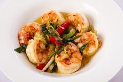 Prawn dish. King prawns in white bowl Stock Image