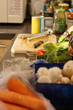 Food preparation. Kitchen worktop with ingredients for preparing a meal royalty free stock images