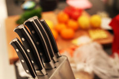 Food preparation background with knifes Stock Photo