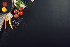 Food preparation background with pasta ingredients. Top view. Stock Image