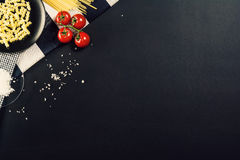 Food preparation background with pasta ingredients. Top view. Royalty Free Stock Photography