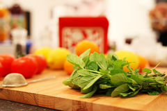 Food preparation background with strainer Stock Image
