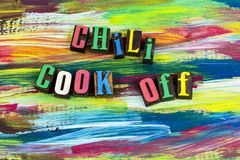 Chili cook off cooking food contest. Food preparation contest chili beans cook off batch pot fun health healthy meal eating junk competition learning challenge royalty free stock photography