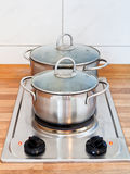 Food preparation on -hotplate electric stove Royalty Free Stock Photo