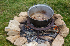 Food preparation. Food preparation in nature with wood fire royalty free stock photos