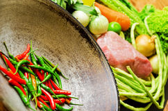 Preparation to asian traditional cooking. Wok and  Royalty Free Stock Photo