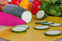 Food preparation - Zucchini. Home cooking, food preparation - Zucchini/Courgette Stock Photo
