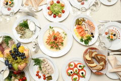 Food prepared in restaurant on the table Royalty Free Stock Photography