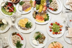Food prepared in restaurant on the table Royalty Free Stock Images