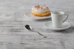 Food present for valentines day. Donut and coffee Stock Image