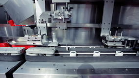 Food processing factory - bottle direction machine stock video footage